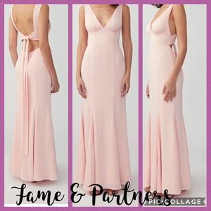 NWT! Fame & Partners pink tie back maxi dress 12